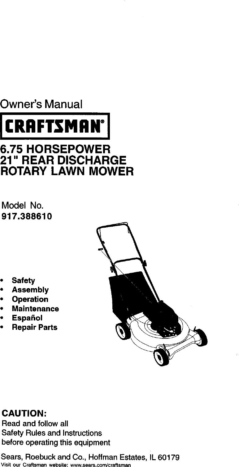Craftsman 917388610 User Manual Gas, Walk Behind Lawnmower