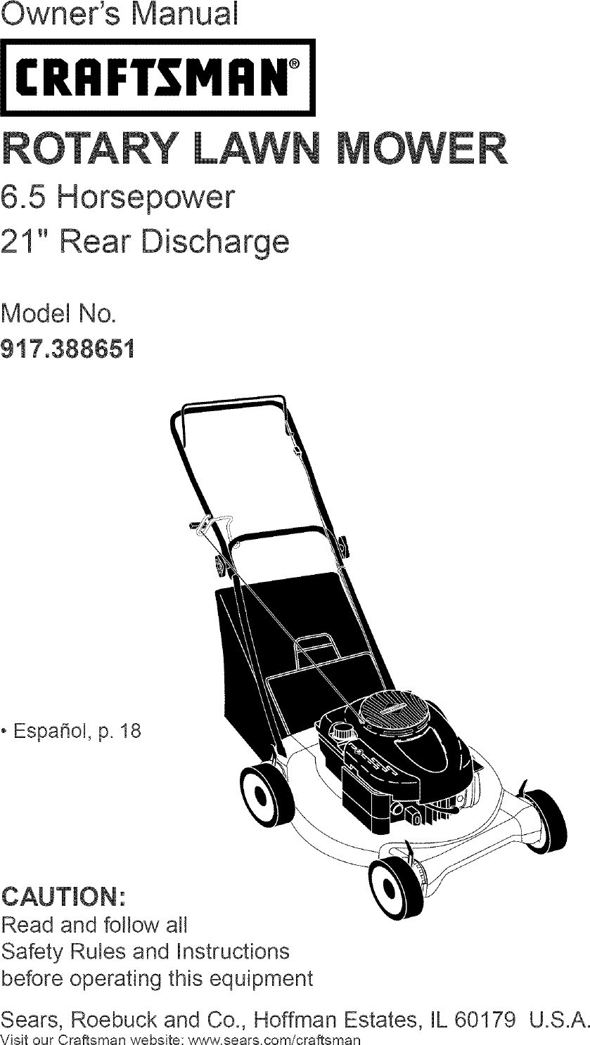 Craftsman 917388651 User Manual Gas, Walk Behind Lawnmower