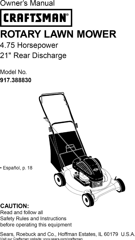 Craftsman 917388830 User Manual ROTARY MOWER Manuals And