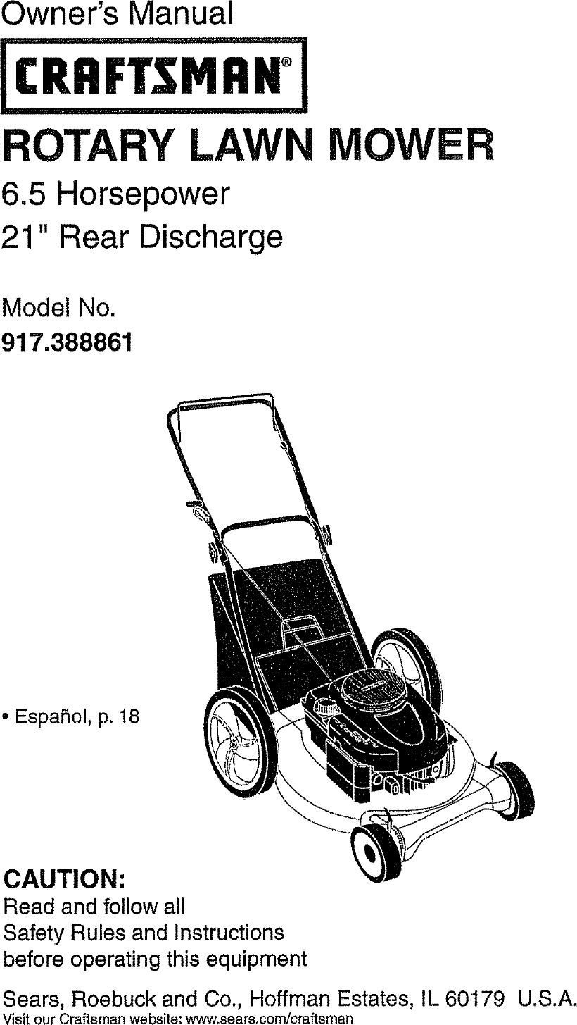 Craftsman 917388861 User Manual ROTARY MOWER Manuals And