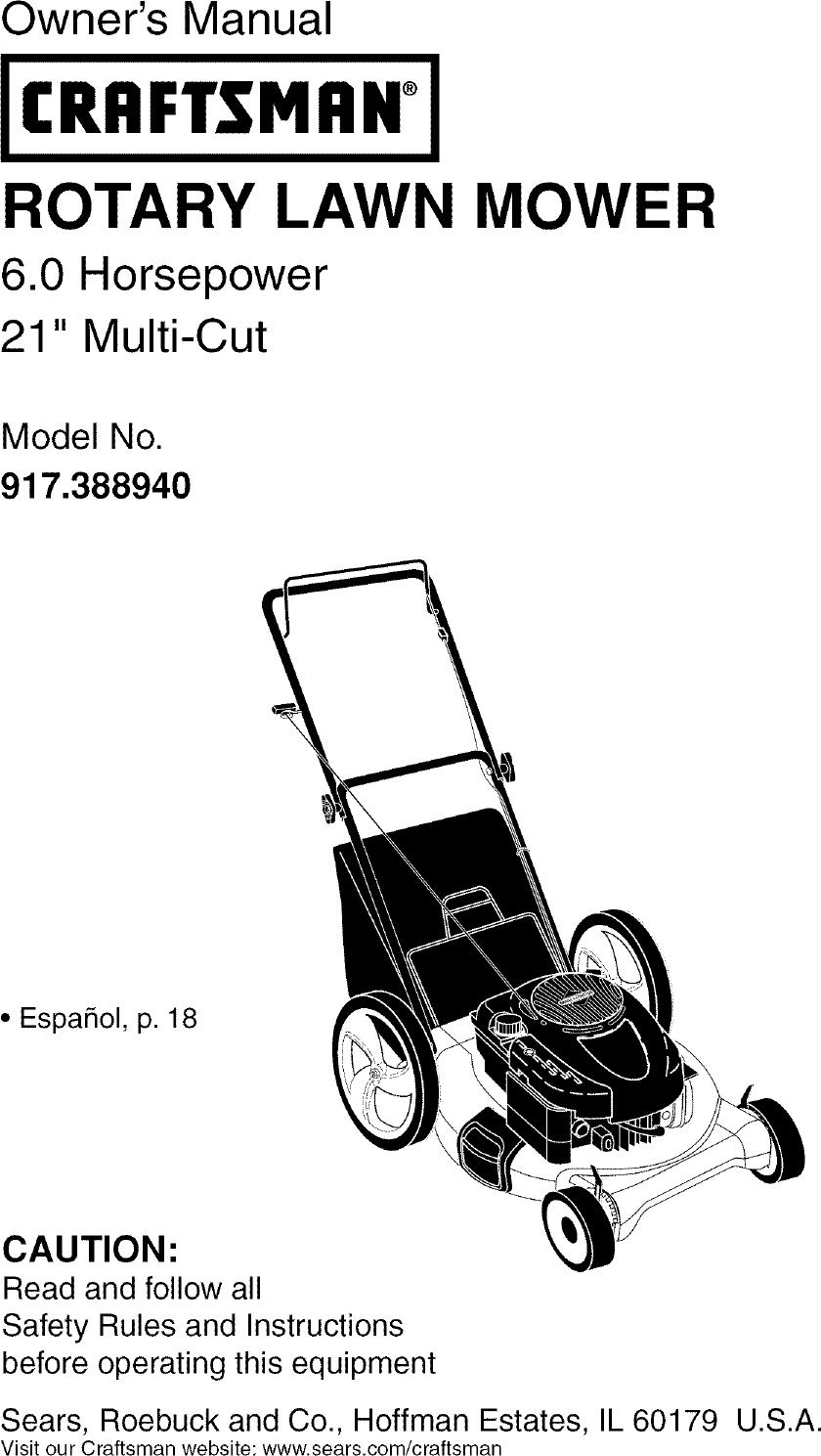Craftsman 917388940 User Manual LAWN MOWER Manuals And