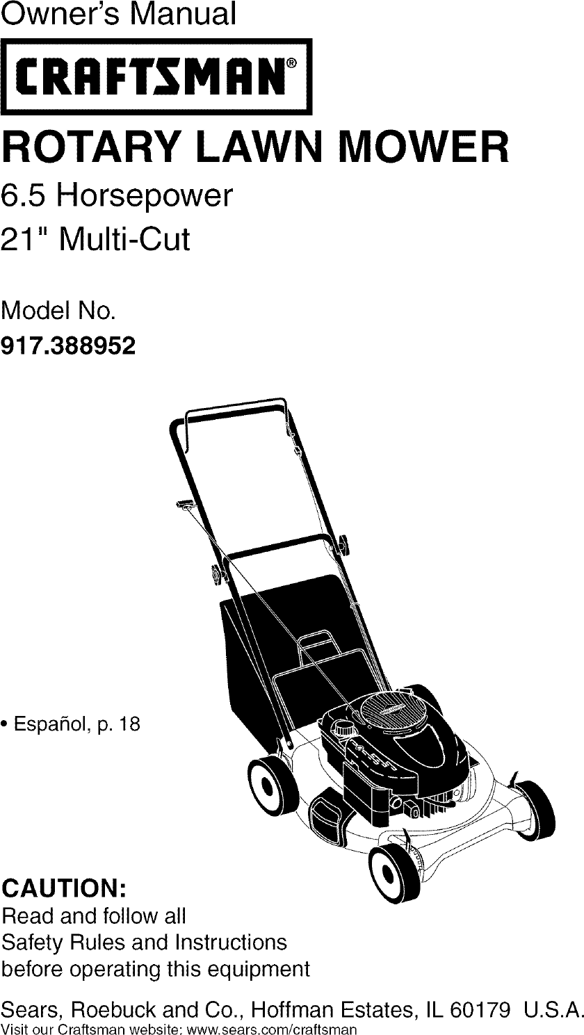 Craftsman 917388952 User Manual ROTARY MOWER Manuals And