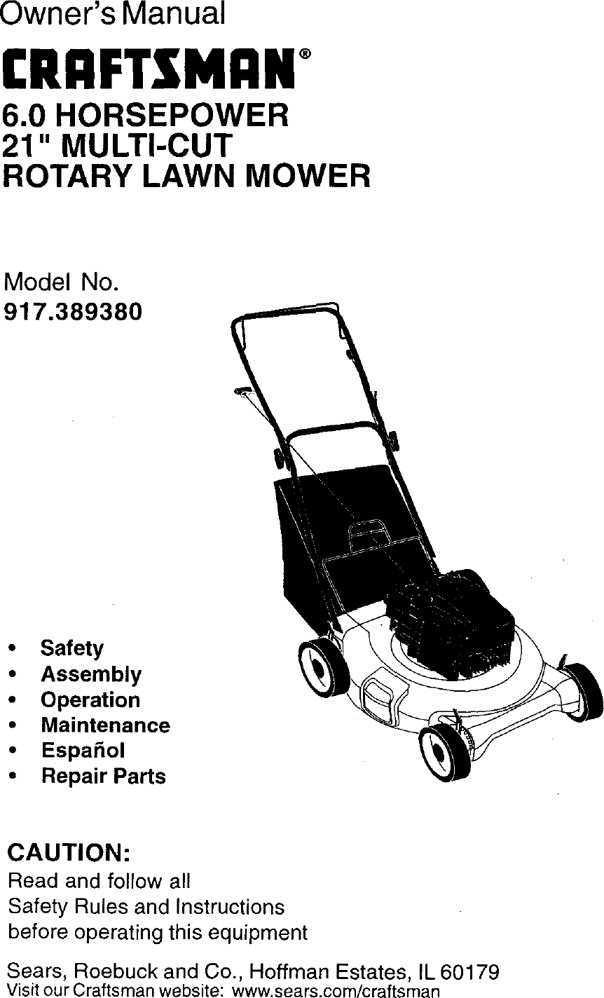 Craftsman 917389380 User Manual Gas, Walk Behind Lawnmower