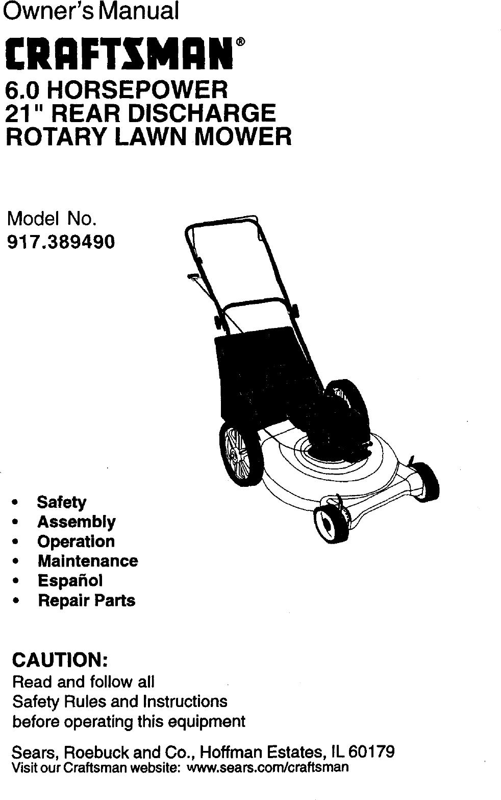 Craftsman 917389490 User Manual Gas, Walk Behind Lawnmower