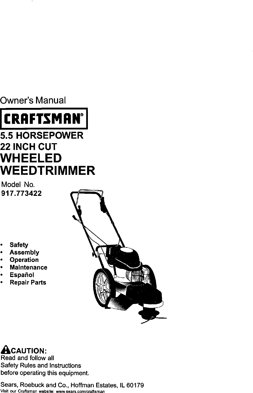 Craftsman 917773422 User Manual HIGH WHEEL WEED TRIMMER