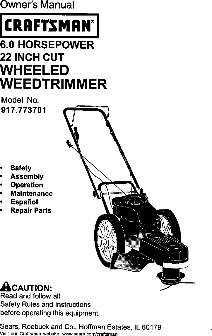 Craftsman 917773701 User Manual HIGH WHEEL WEED TRIMMER