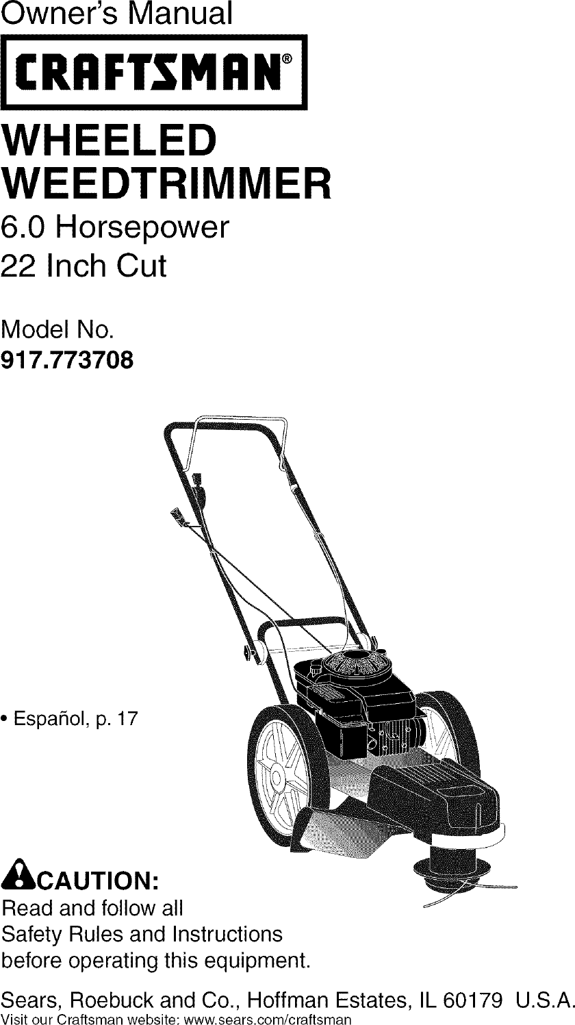 Craftsman 917773708 User Manual HIGH WHEEL WEED TRIMMER