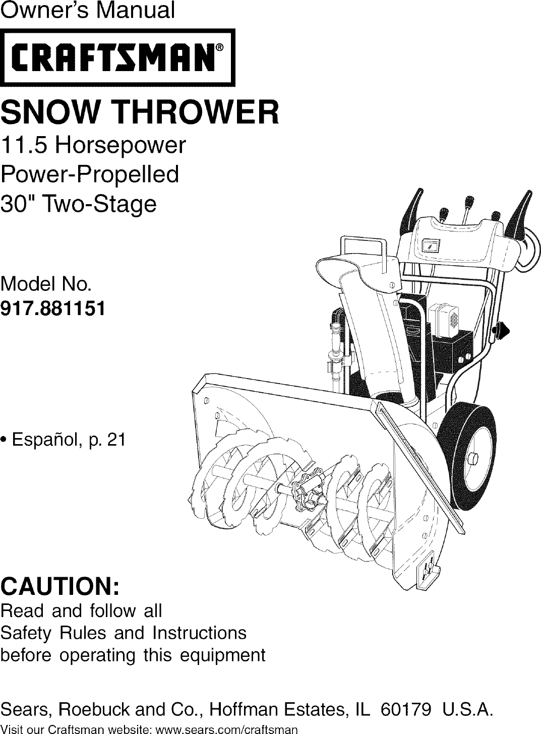Craftsman 917881151 User Manual SNOW THROWER Manuals And
