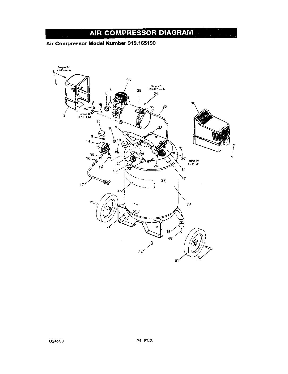 Craftsman 919165190 User Manual AIR COMPRESSOR Manuals And