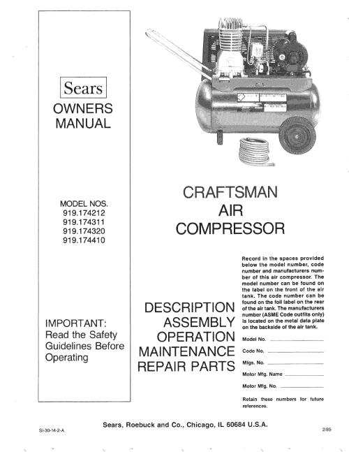 small resolution of craftsman 919174212 user manual air compressor manuals and guides l0810281