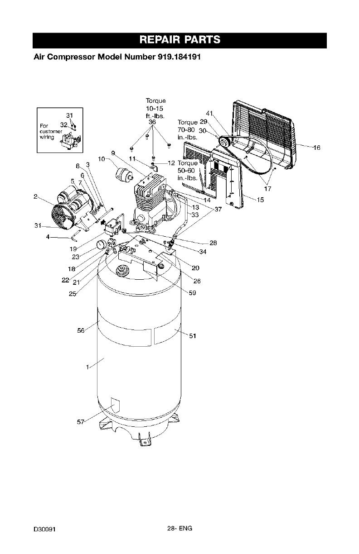 Craftsman 919184191 User Manual AIR COMPRESSOR Manuals And