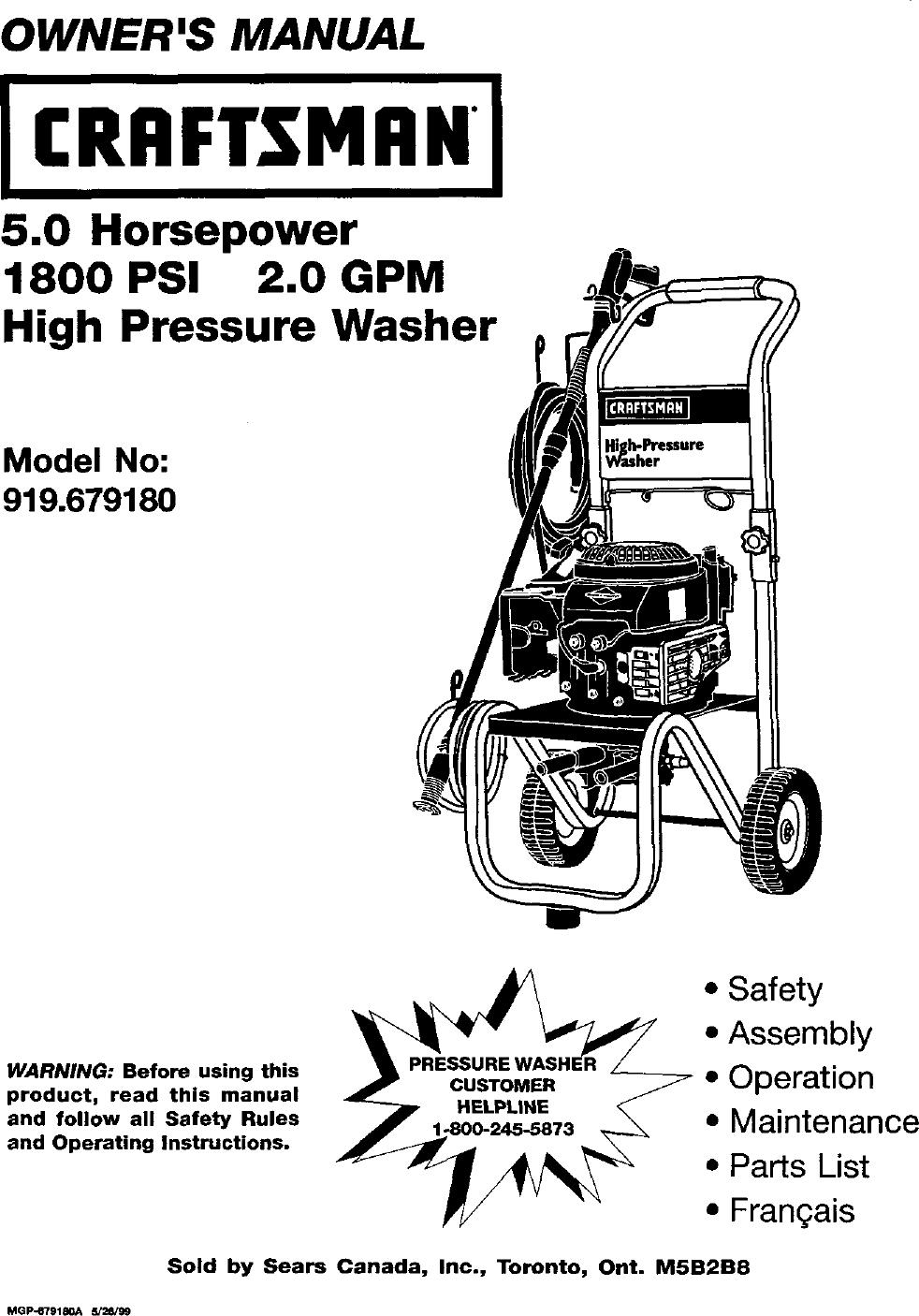 ... Craftsman 919679180 User Manual 2400 PSI HIGH PRESSURE ...