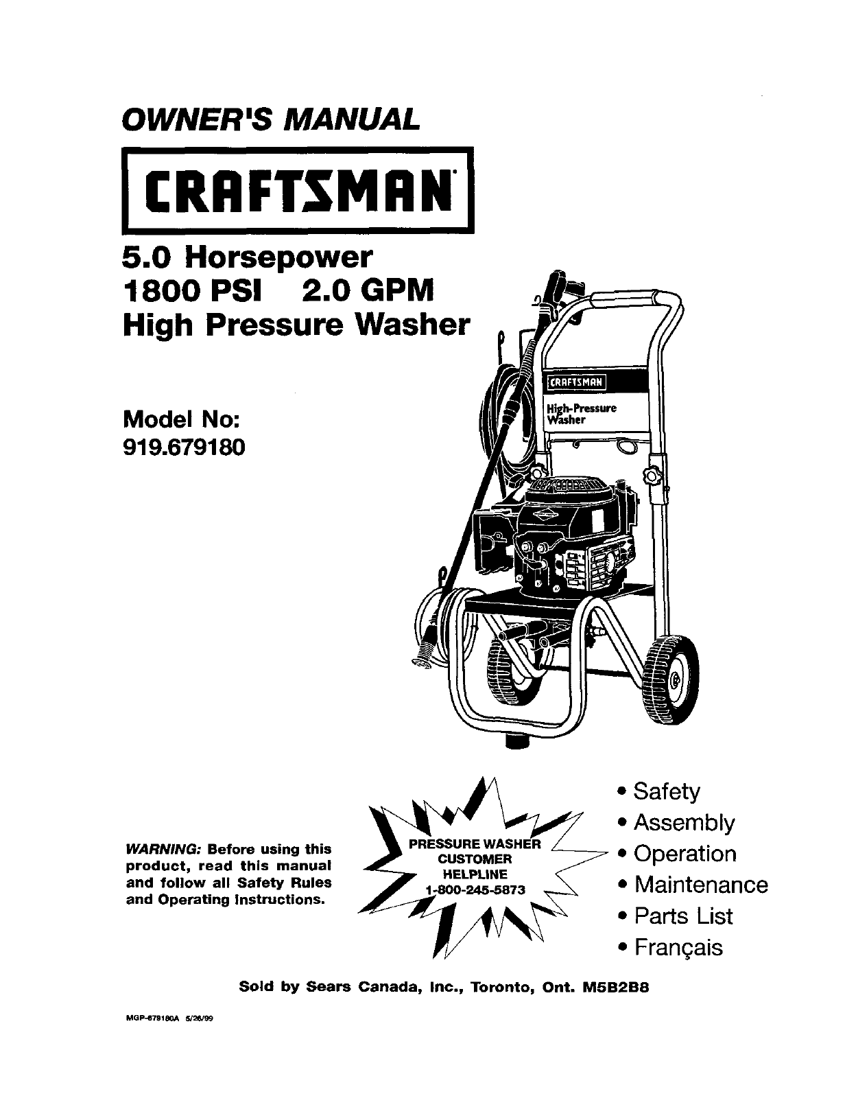 Craftsman 919679180 User Manual 2400 PSI HIGH PRESSURE