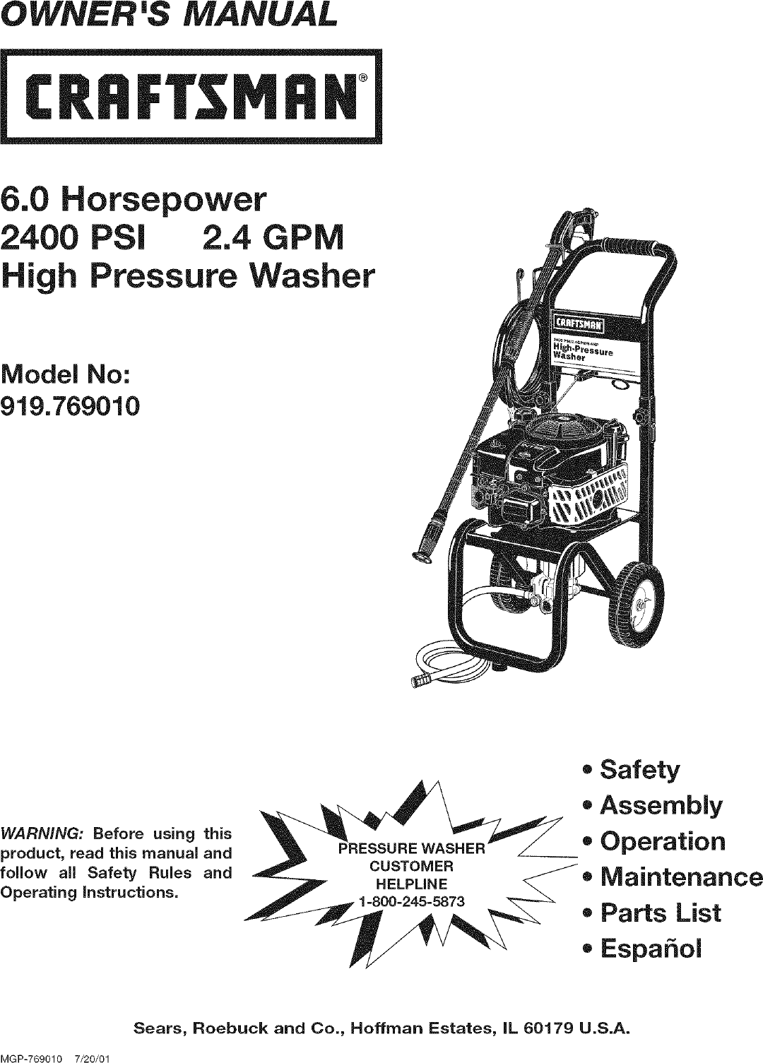 Craftsman 919769010 User Manual PRESSURE WASHER Manuals