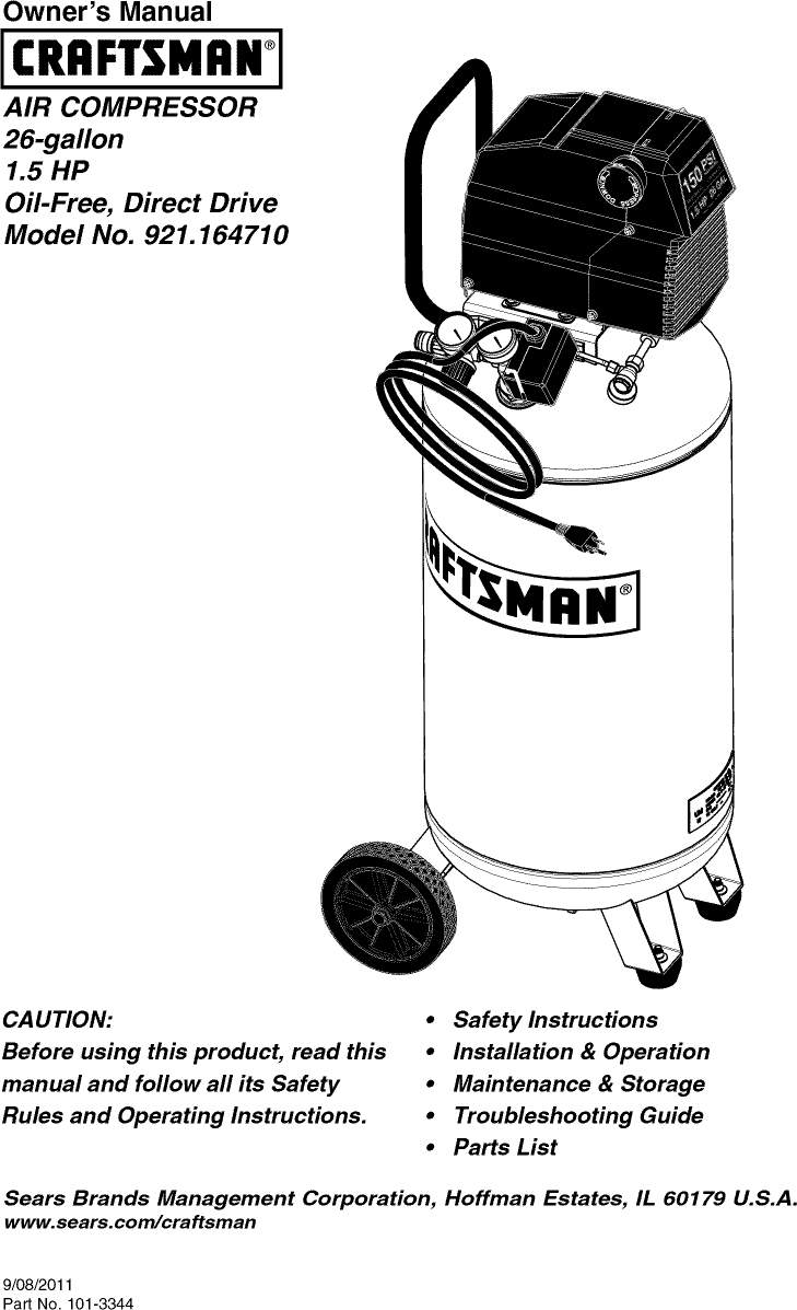 Craftsman 921164710 User Manual AIR COMPRESSOR Manuals And