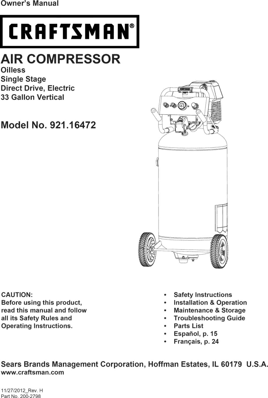 medium resolution of craftsman 92116472 2012 user manual air compressor manuals and guides 1310372l
