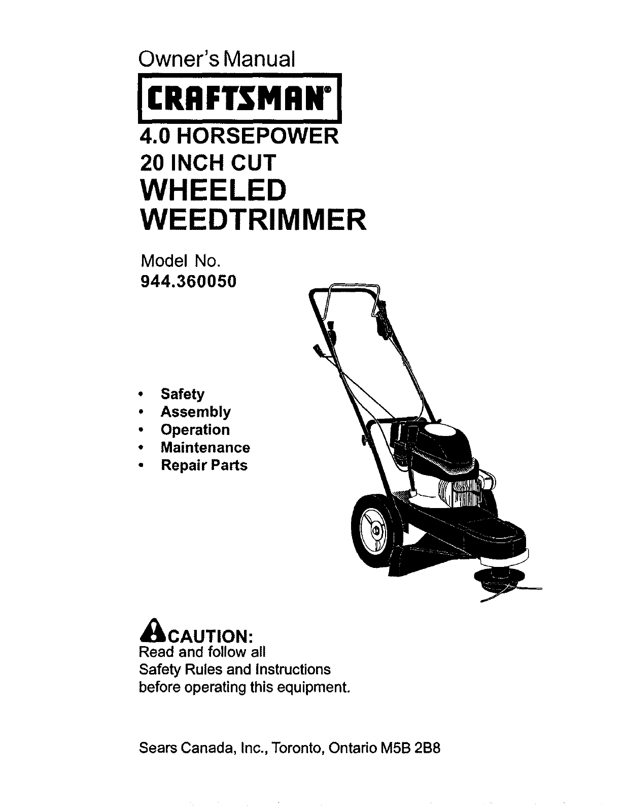 Craftsman 944360050 User Manual HIGH WHEEL WEED TRIMMER