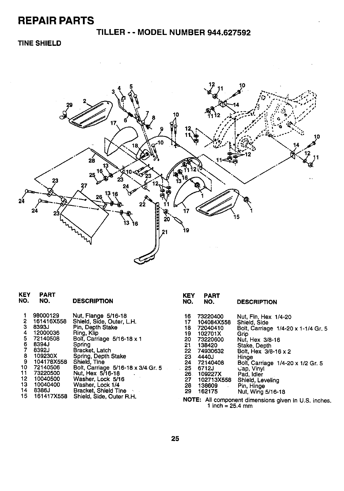 Craftsman 944627592 User Manual REAR TINE TILLER Manuals