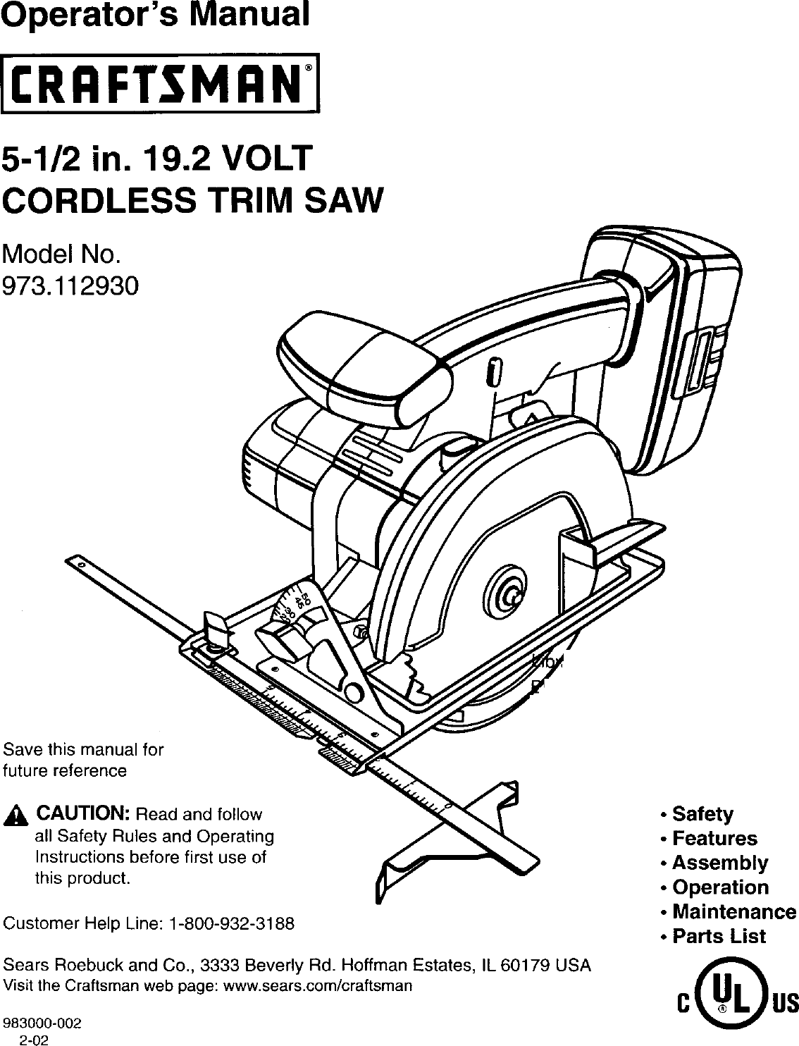 Craftsman 973112930 User Manual 19.2 VOLT CORDLESS TRIM