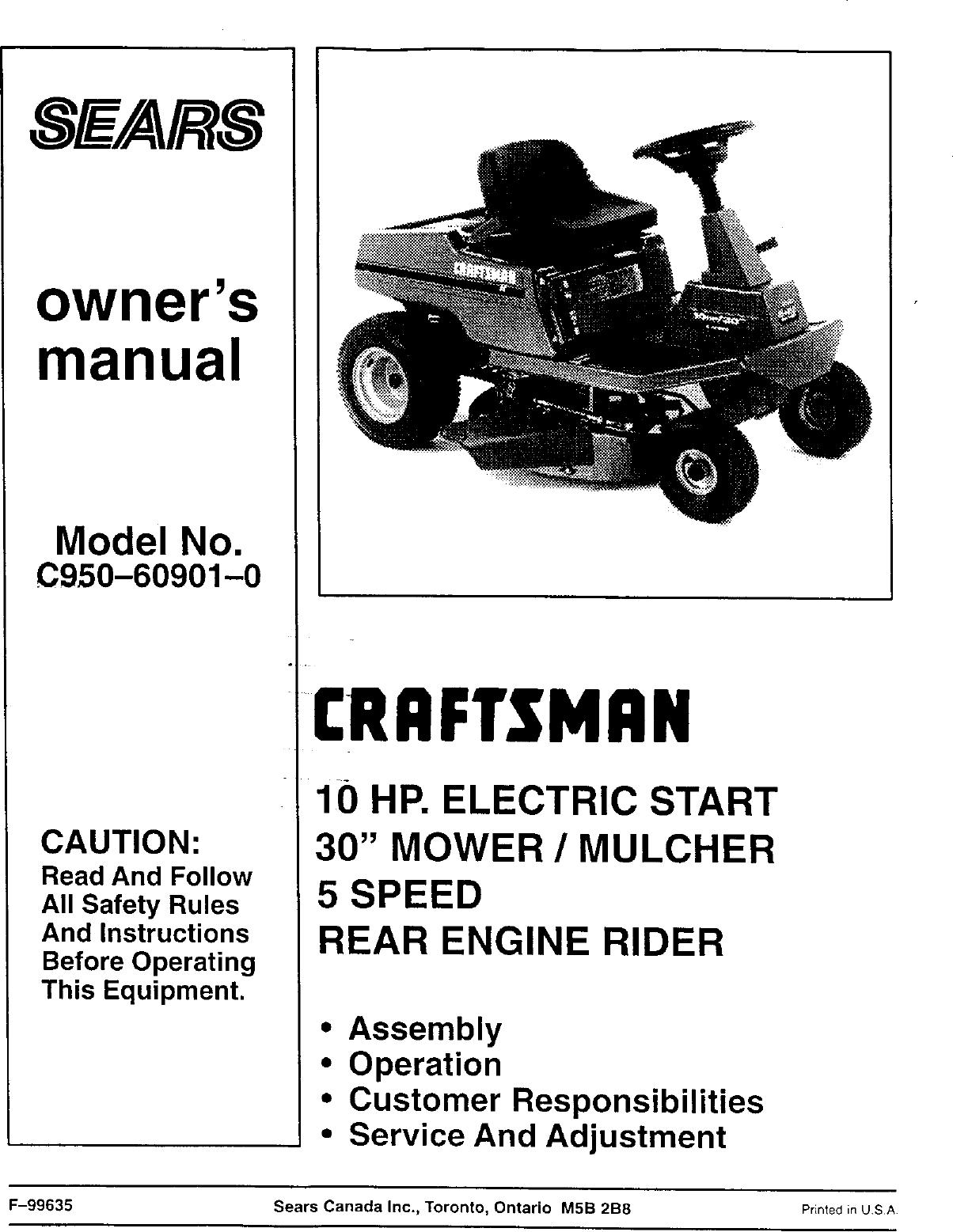 Craftsman C950 60901 0 User Manual SEARS/CANADA 10HP REAR