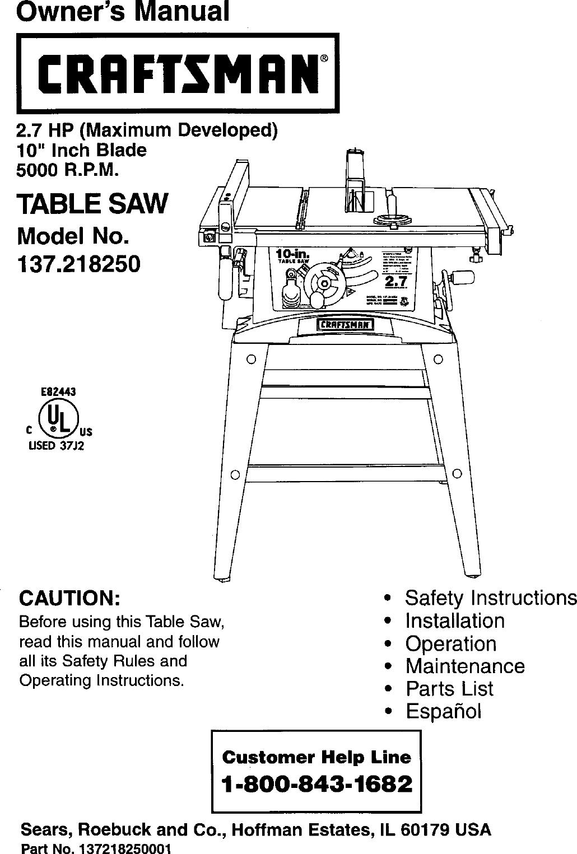 Sonstige Heimwerker Sears Craftsman Table Saw Manual Model