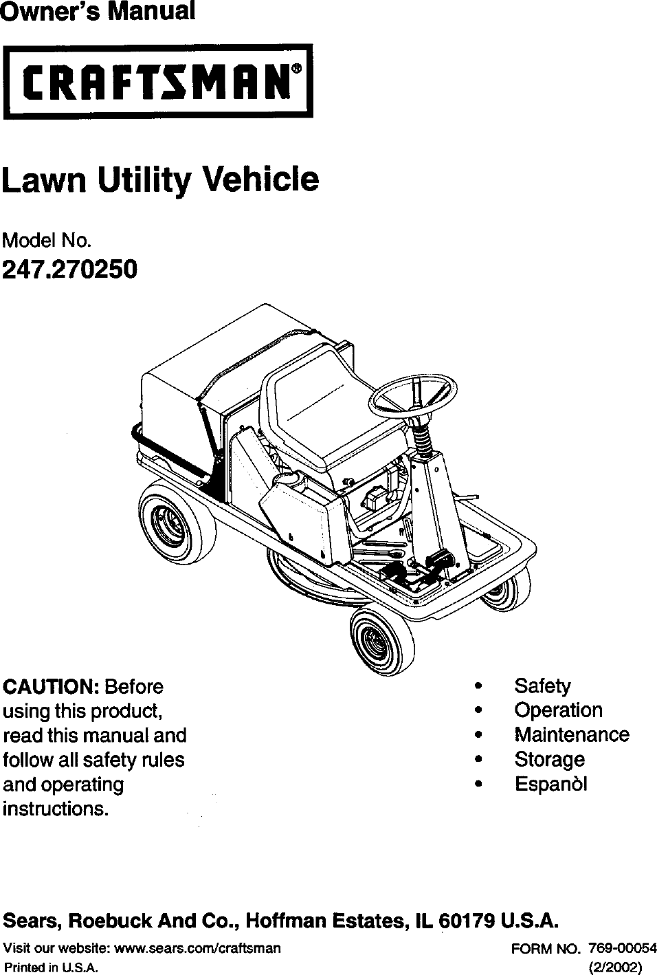 Craftsman 270 Users Manual