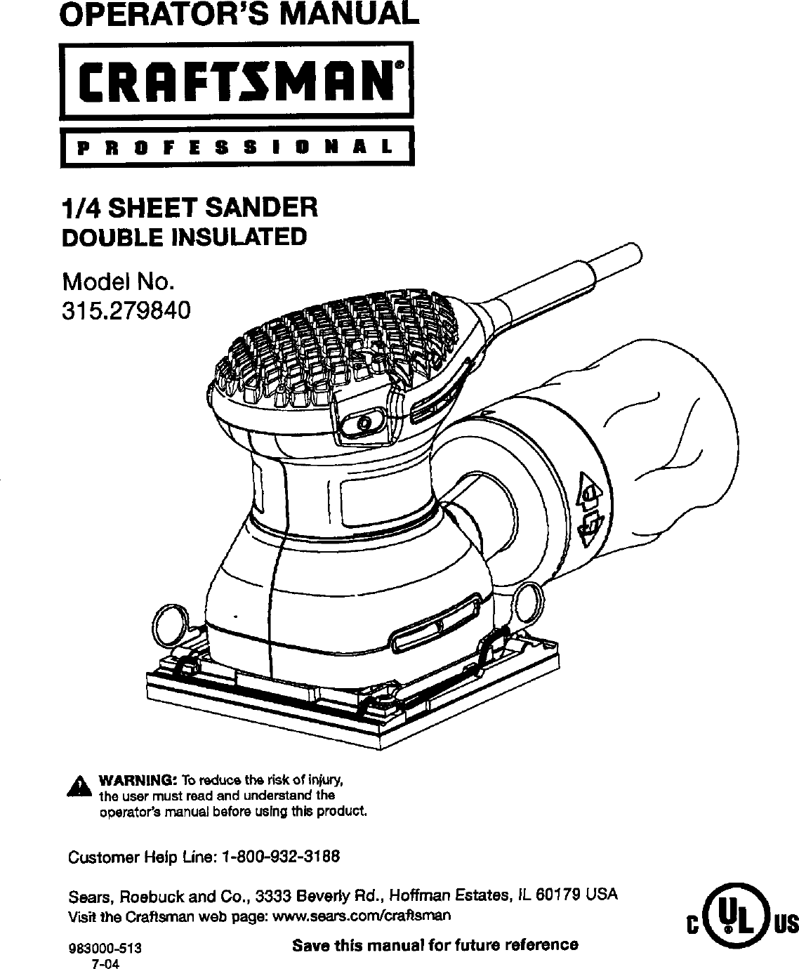 Craftsman 315 27984 Users Manual