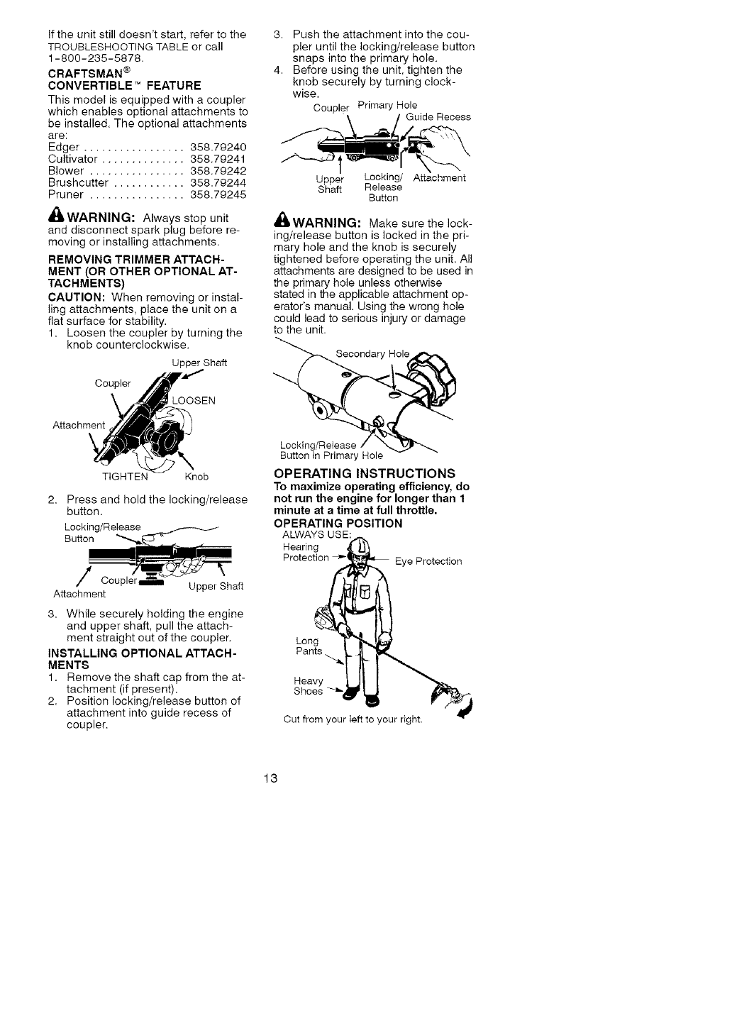 Craftsman 358 791051 Users Manual