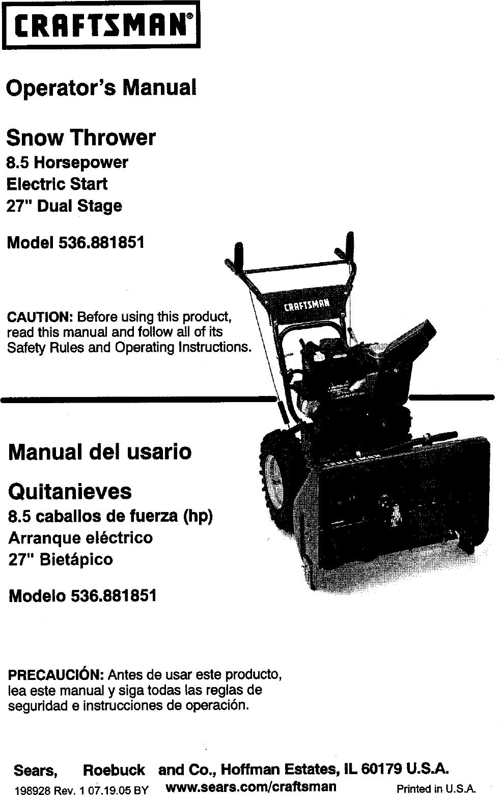 Craftsman 536881851 Users Manual