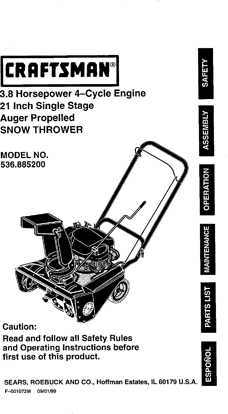 Craftsman 536 8852 Users Manual