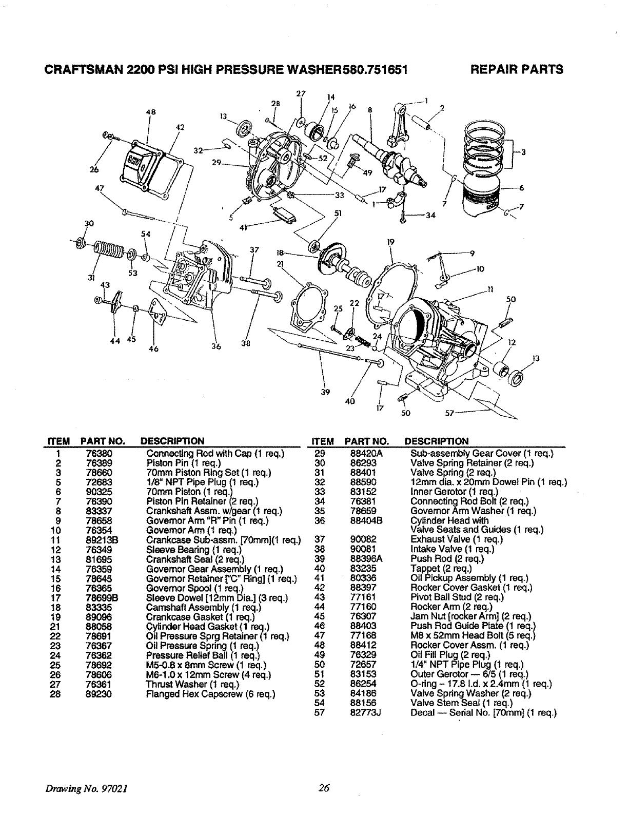 Craftsman 580 751651 Owners Manual
