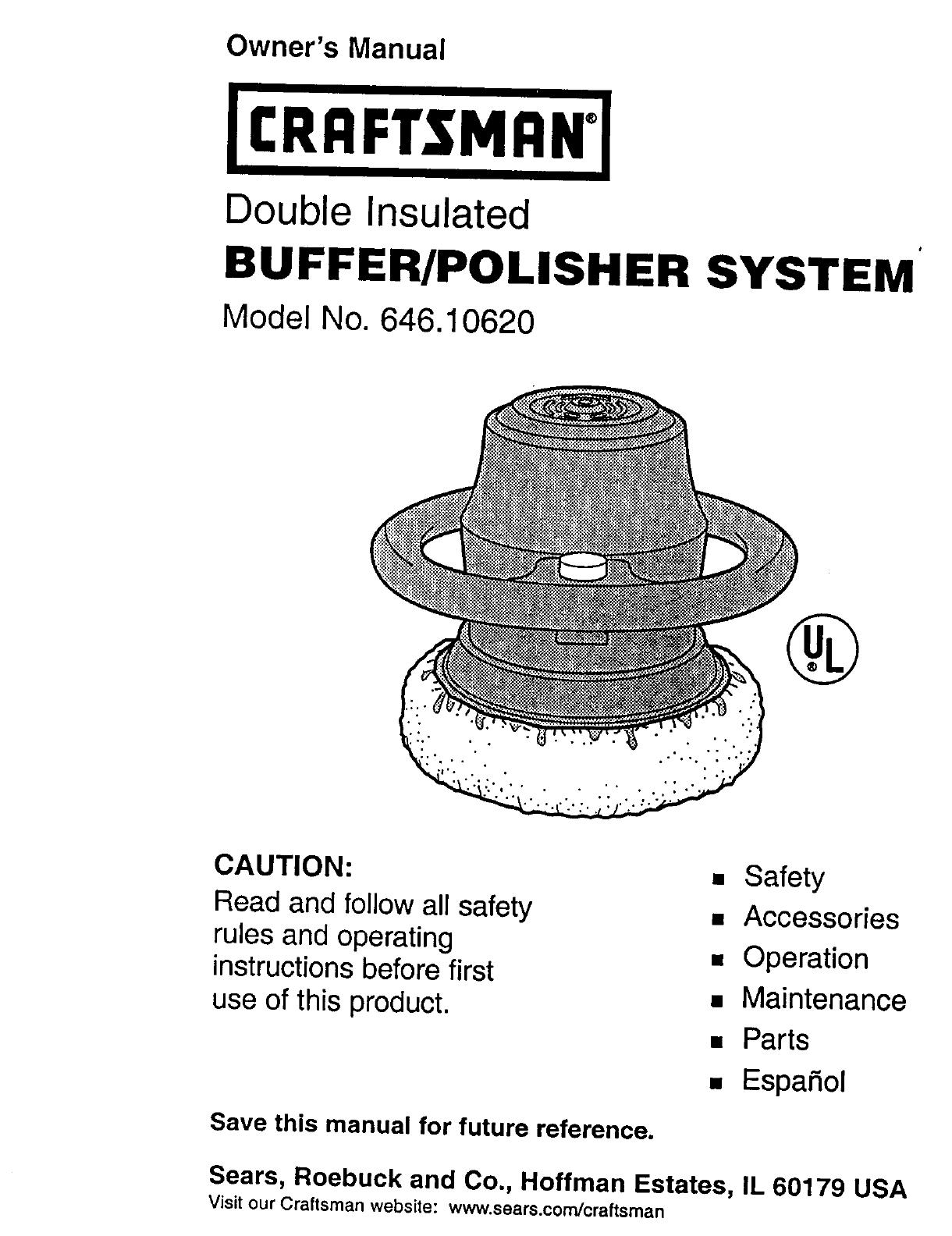 Craftsman 646 1062 Users Manual