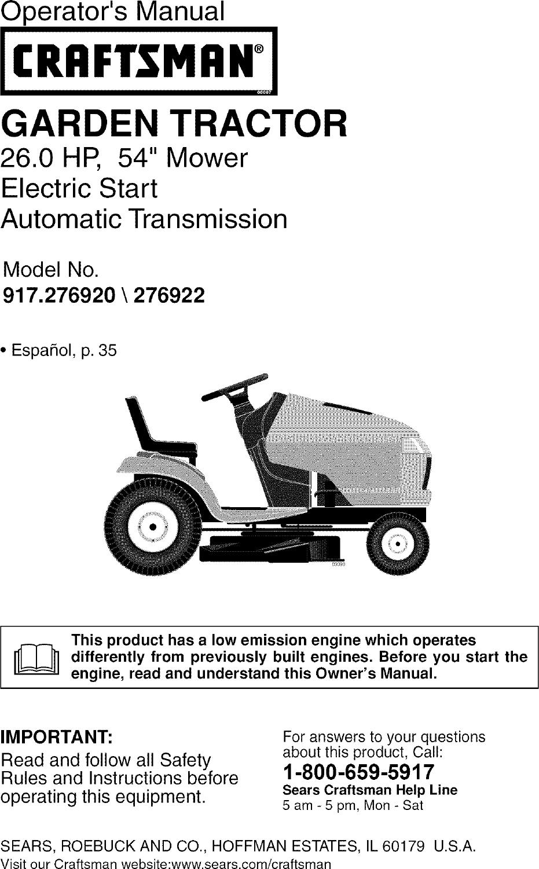 medium resolution of wiring diagram for craftsman 917 276922 riding lawn mower wiring wiring diagram craftsman 917 287480