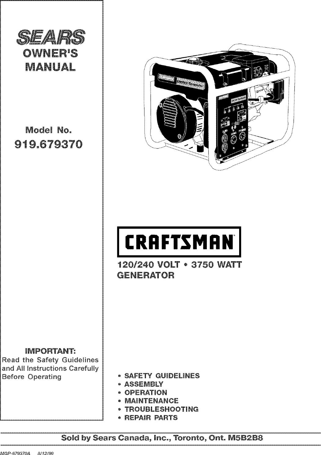 Craftsman 919 67937 Users Manual