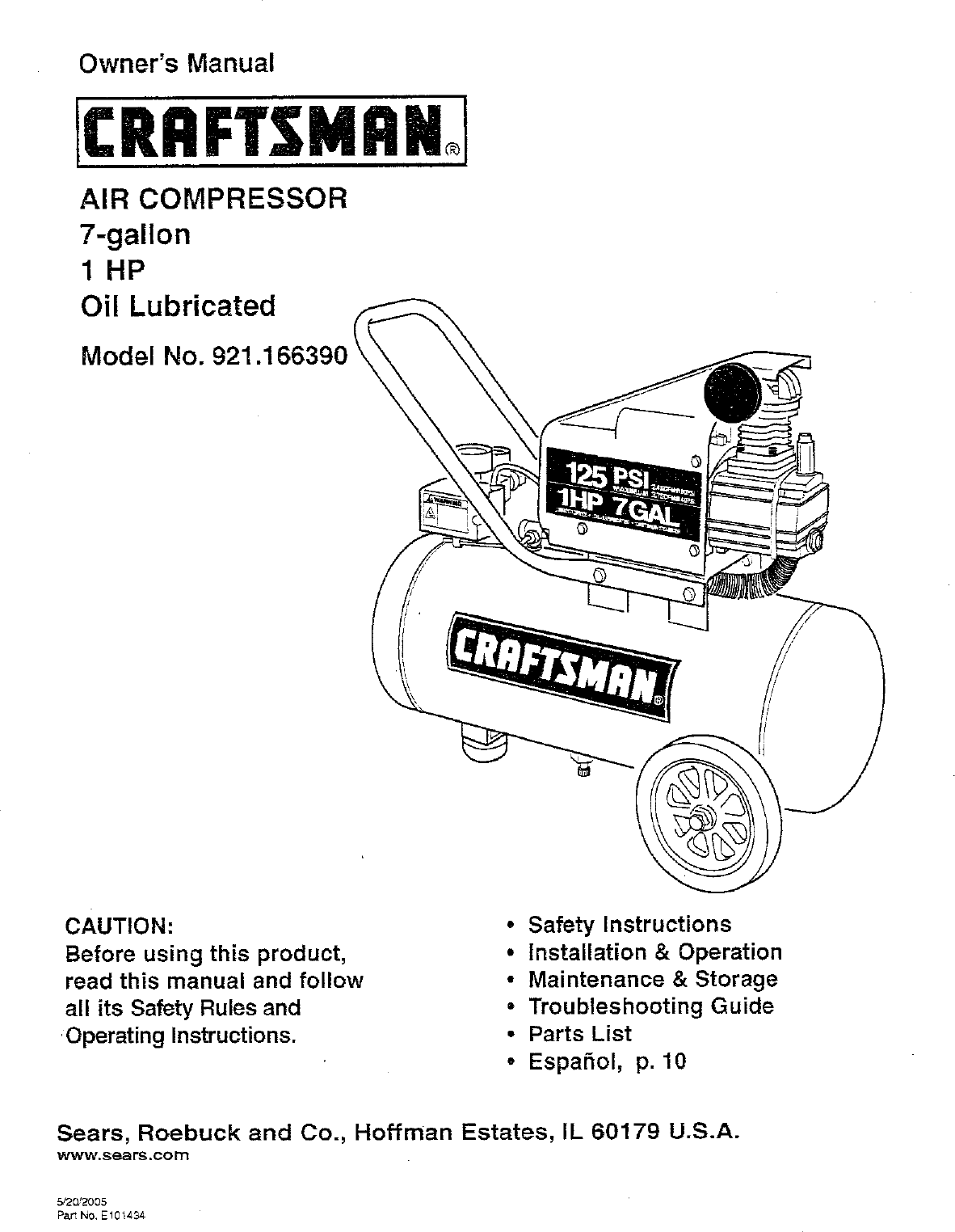 hight resolution of  craftsman 921 16639 owners manual on sears 5 hp electric compressor wiring sears air compressor