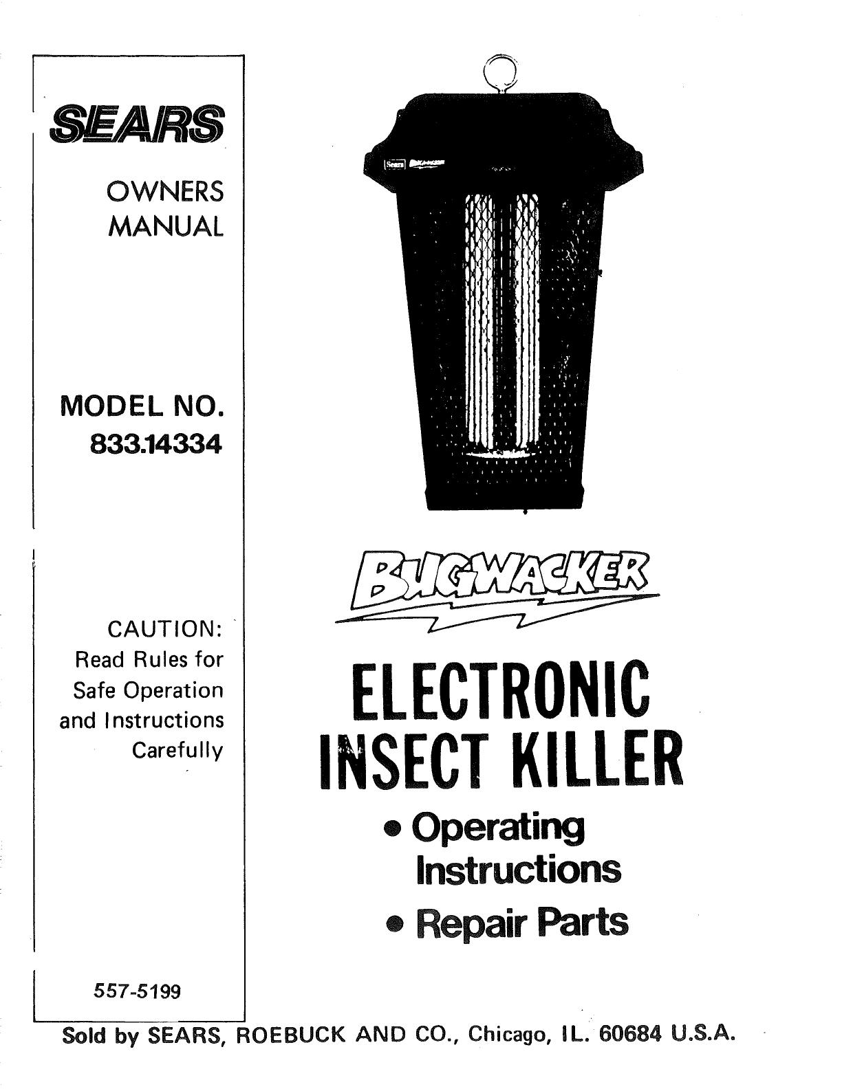 Craftsman Bugwacker 833 14334 Operating Instructions