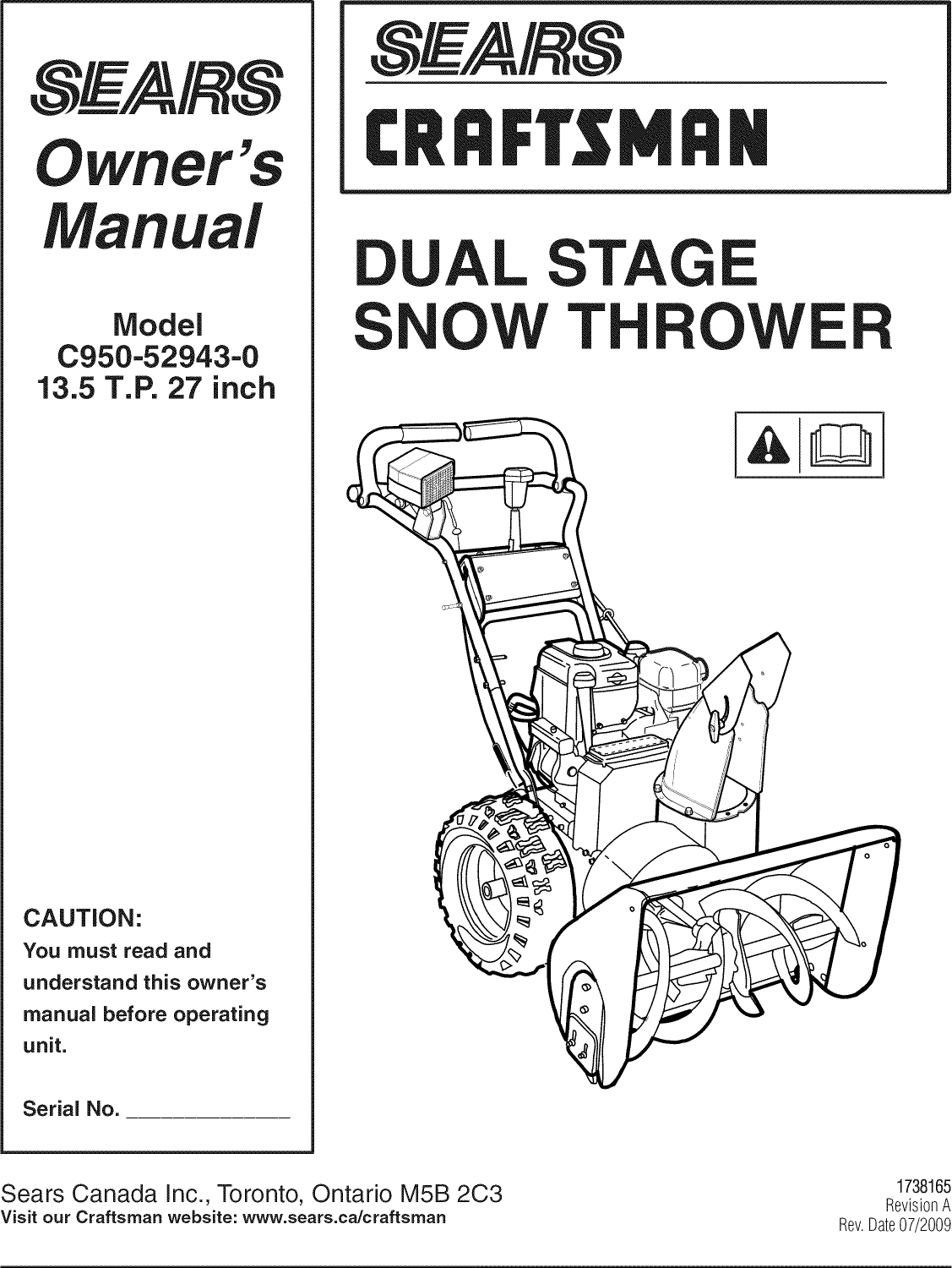 Craftsman C950 52943 0 Users Manual