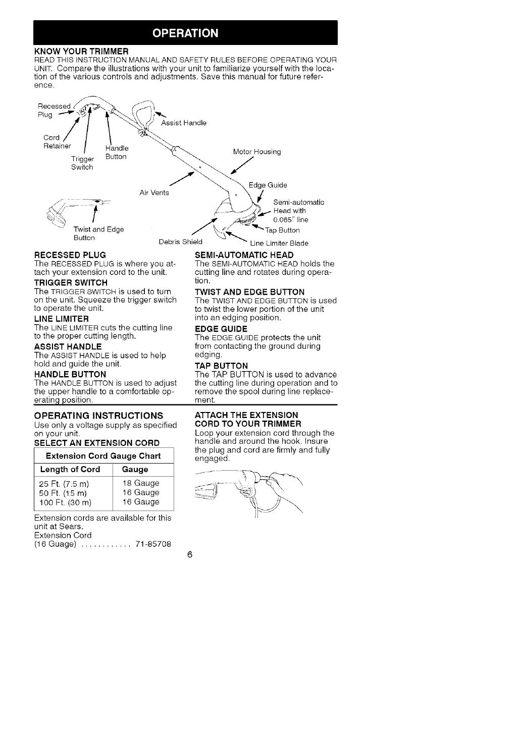 Craftsman Electric Weedwacker 358 74529 Users Manual