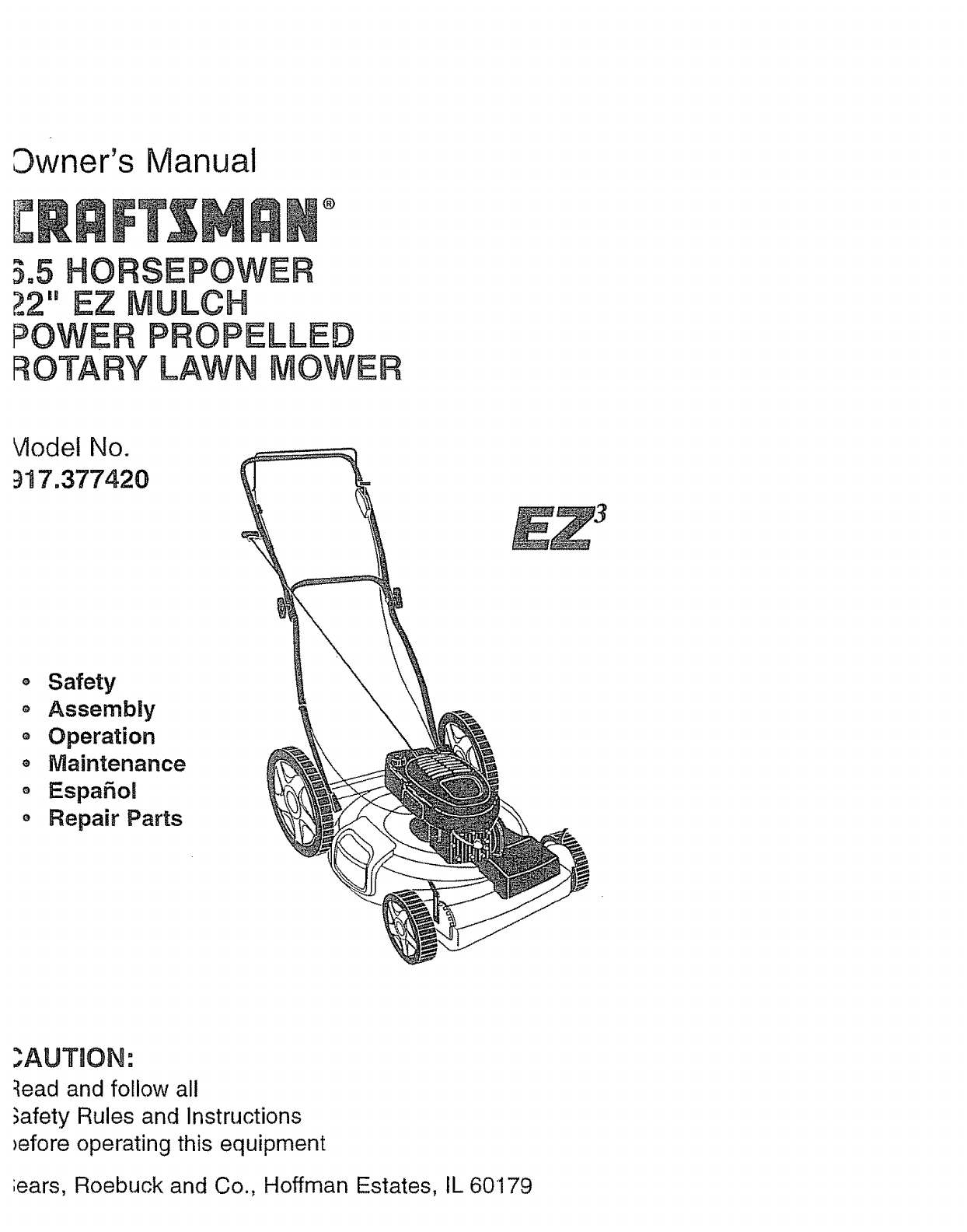 Craftsman Ez 917 37742 Users Manual