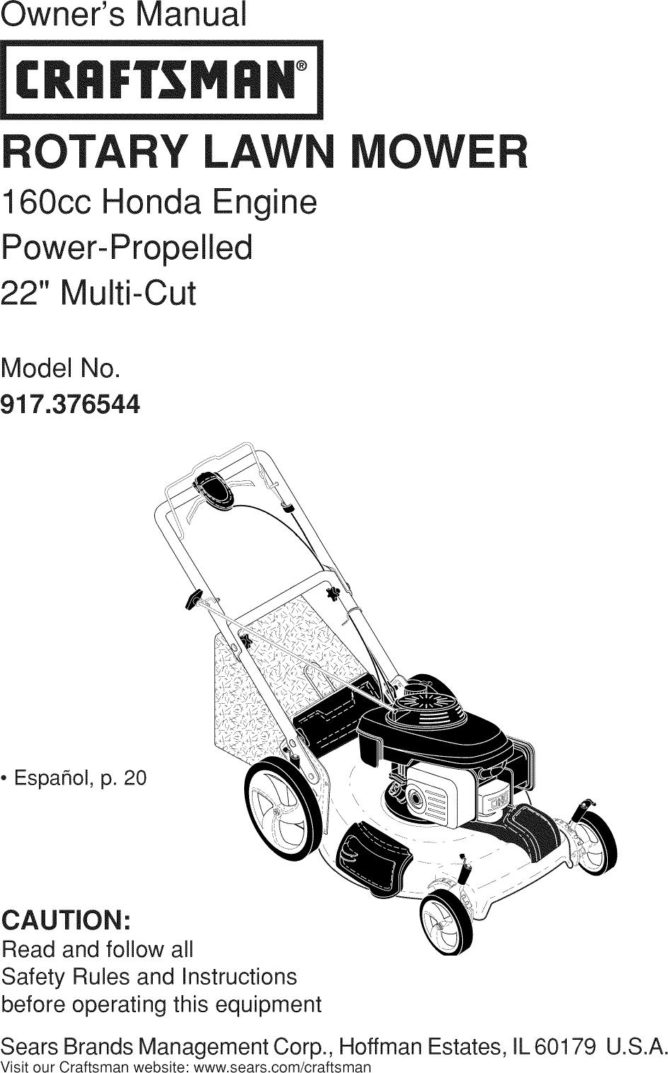 Craftsman Lawn Mower Gcv160 Owners Manual
