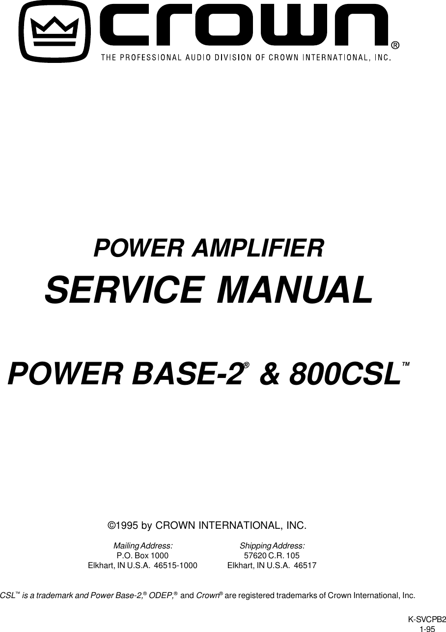 Crown Audio 800Csl Users Manual