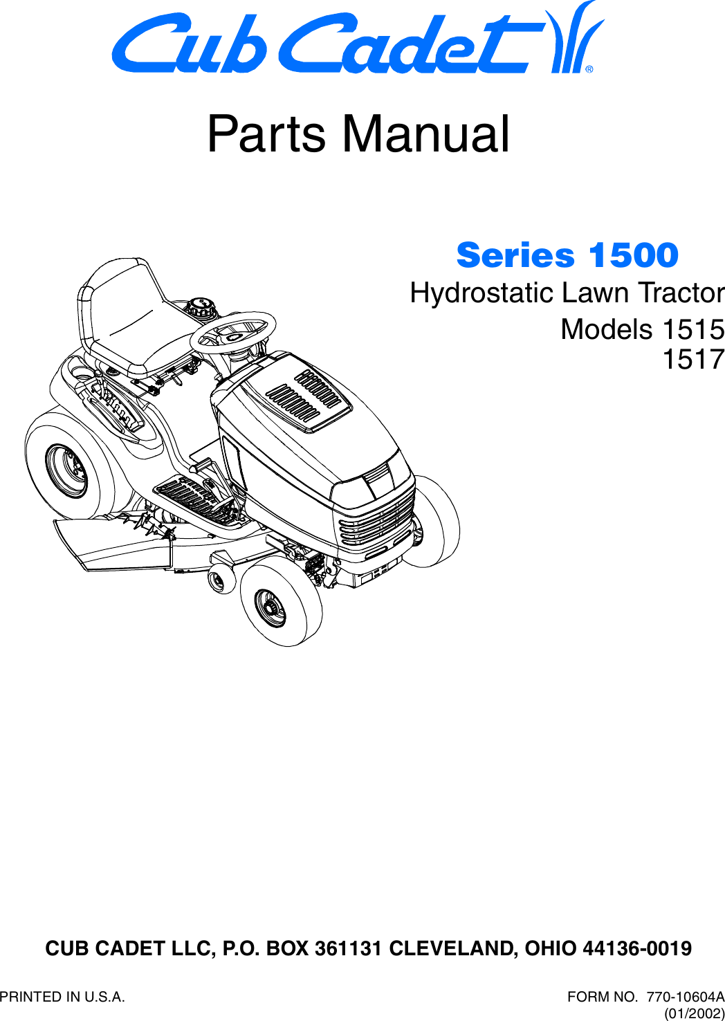 Cub Cadet Hydrostatic Lawn Tractor 1515 Parts Manual 770