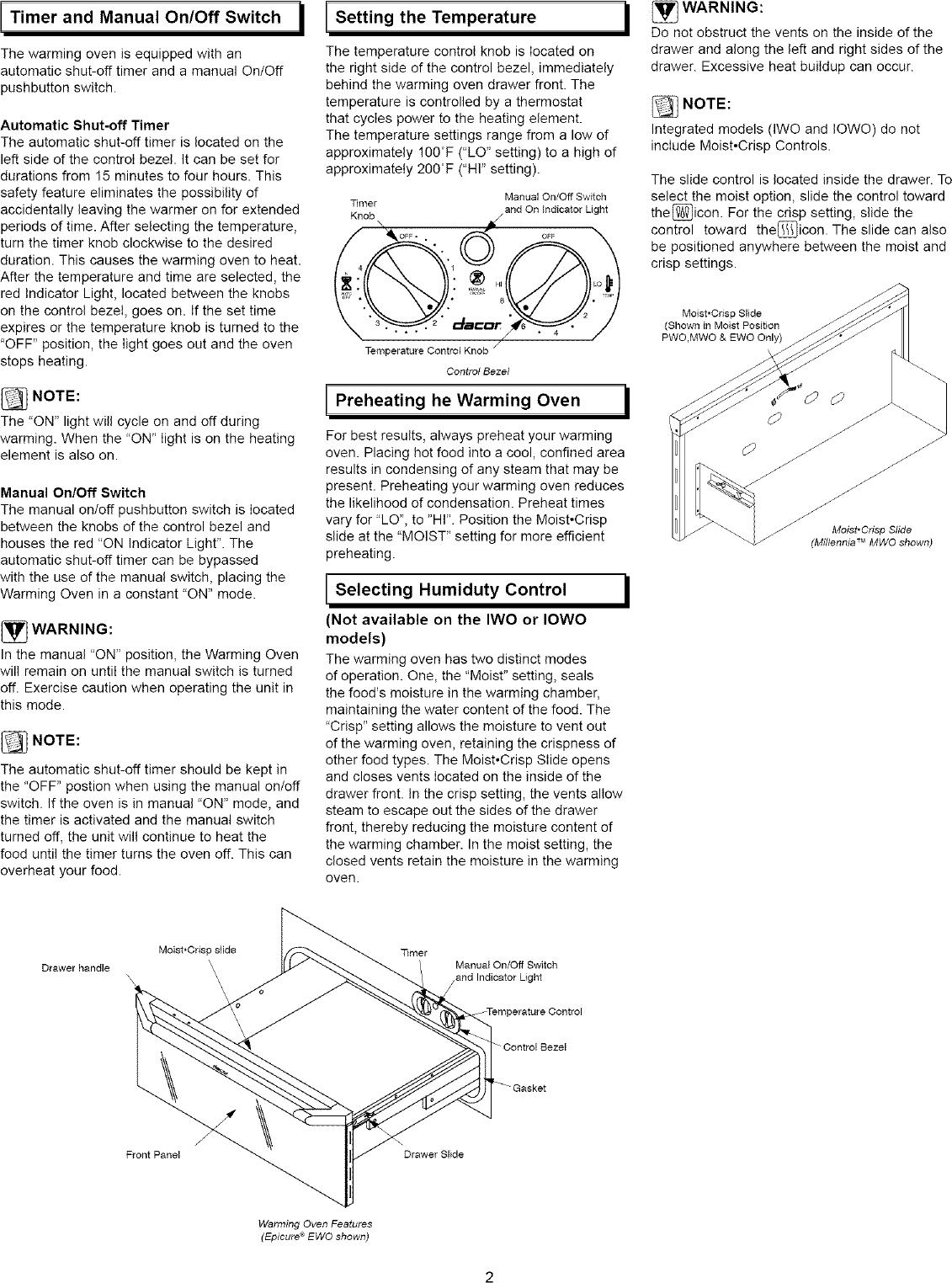 DACOR Warming Drawers Manual L0520325