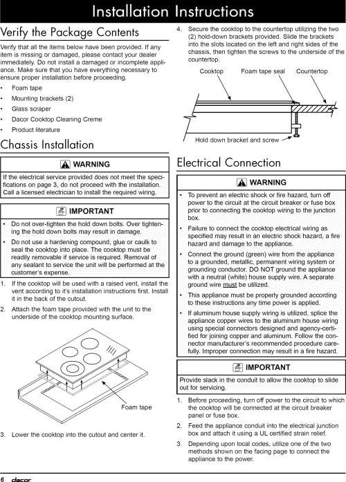 small resolution of page 8 of 12 dacor ett3041b user manual cooktop manuals and guides 1102291l
