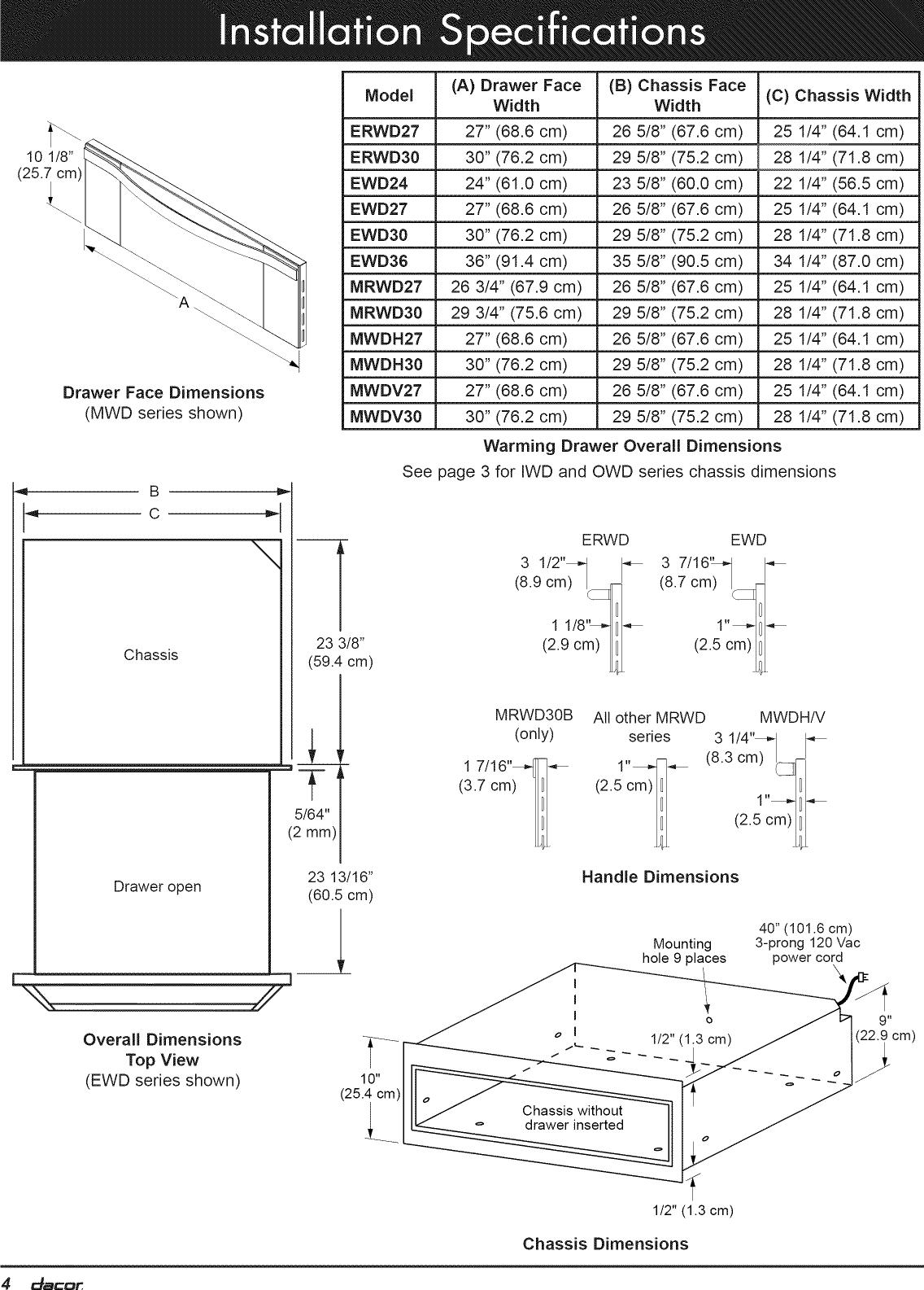 Dacor EWD24SCH User Manual WARMING DRAWER Manuals And