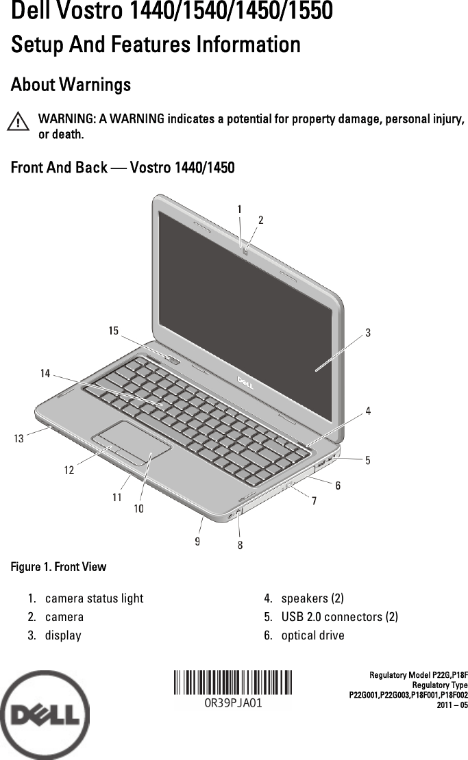 Dell Vostro 1550 Mid 2011 Tech Sheet Setup And Features