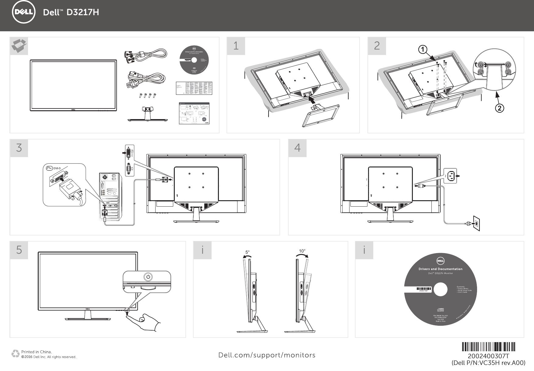 Dell d3217h monitor 快速入门指南 使用手册 其他文档 Setup Guide Zh cn