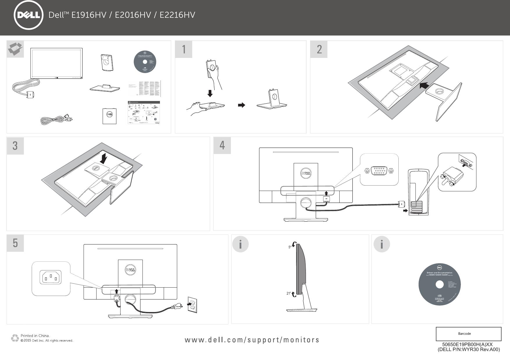 Dell e1916hv monitor Quick Start Guide User Manual Setup En us