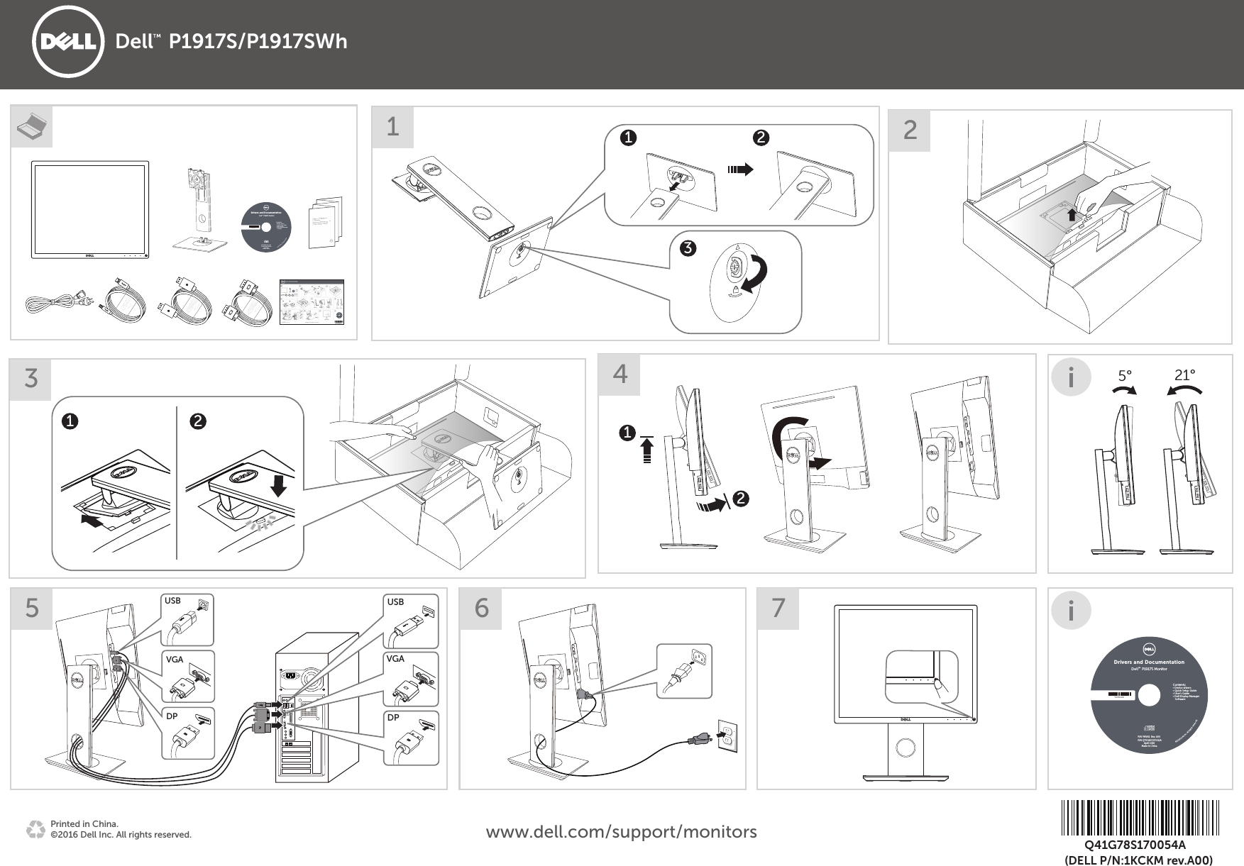 Dell p1917s monitor Quick Setup Guide User Manual En us