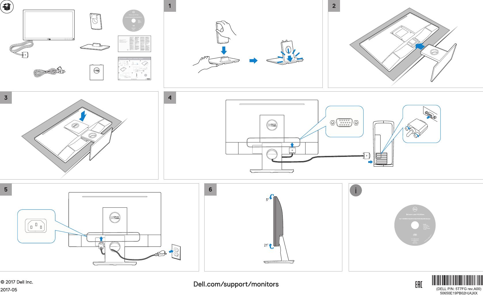 Dell se1918hv monitor Ръководство за бърз старт User